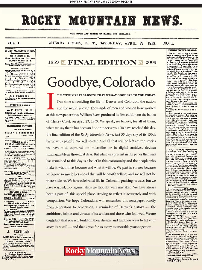 Final front page of the Rocky Mountain News