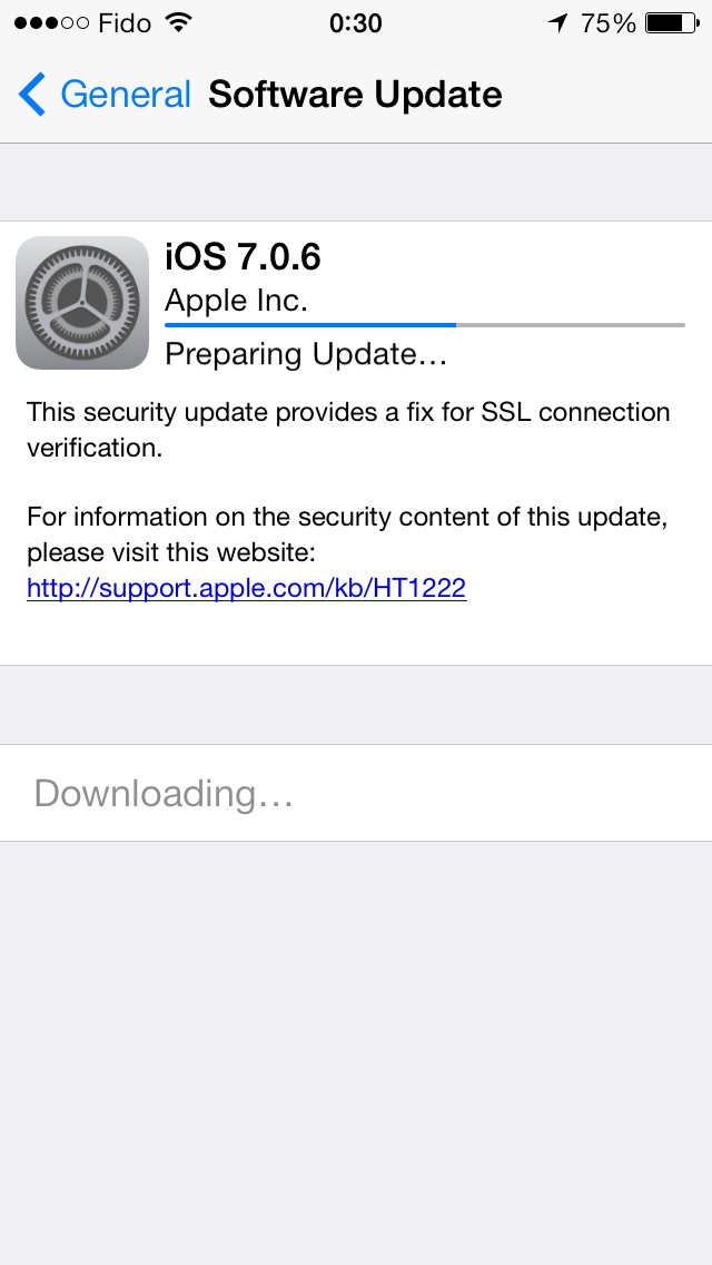 Download of iOS 7.0.6, which patches security flaw.